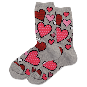 Women's Red and Pink Hearts Grey Socks