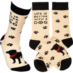"""Life Is Better With A Dog"" Socks - One Size - Novelty Socks, Mens, Womens, Kids"