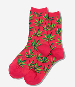 Women's Hot Pink Weed Marijuana Socks - Novelty Socks, Mens, Womens, Kids