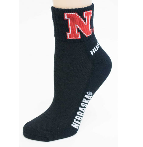 Nebraska Black Quarter Cuff Crew Socks - One Size