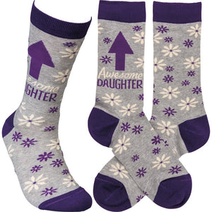 """Awesome Daughter"" Socks - One Size - Novelty Socks, Mens, Womens, Kids"