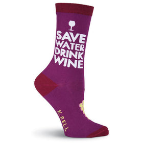 Women's Save Water Drink Wine Socks