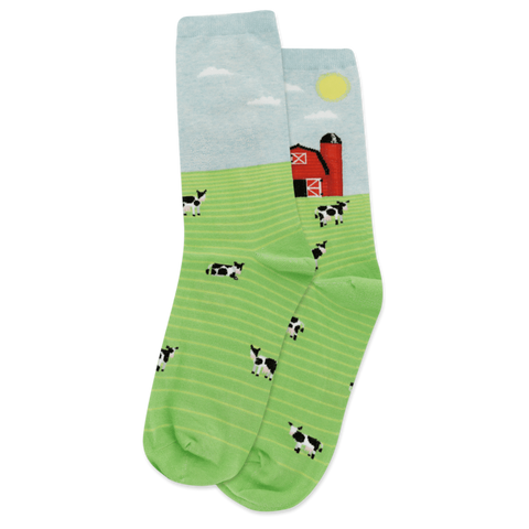 Women's Cow on Farm Socks - Novelty Socks, Mens, Womens, Kids