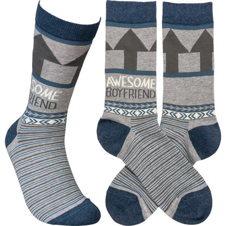 """Awesome Boyfriend"" Socks - One Size - Jilly's Socks 'n Such"