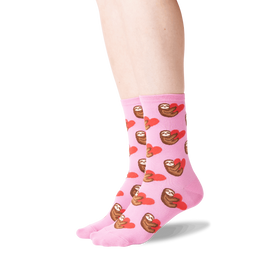 Women's Sloth with Heart Pink Socks