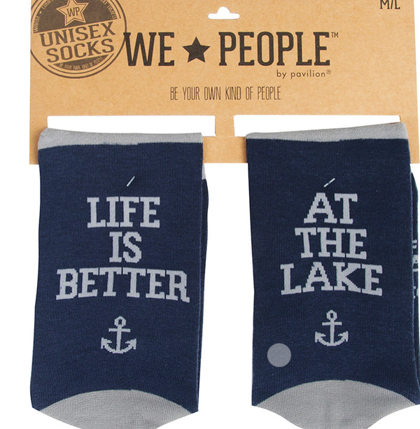 "Unisex ""Life is Better When You're at the Lake"" Lake People Socks - Jilly's Socks 'n Such"