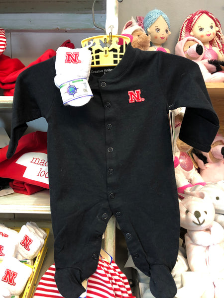 Kids Baby Grey Nebraska Footie Pajama Romper - Novelty Socks, Mens, Womens, Kids