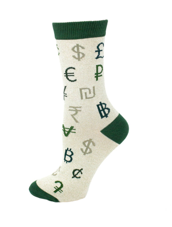 Women's Money Currency Symbol Socks - Novelty Socks, Mens, Womens, Kids