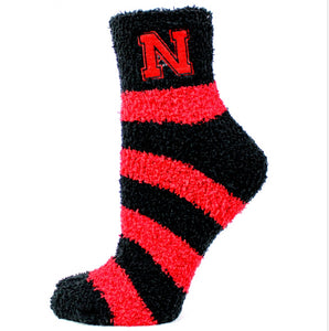 Nebraska Fuzzy Stripe Socks - One Size - Novelty Socks, Mens, Womens, Kids