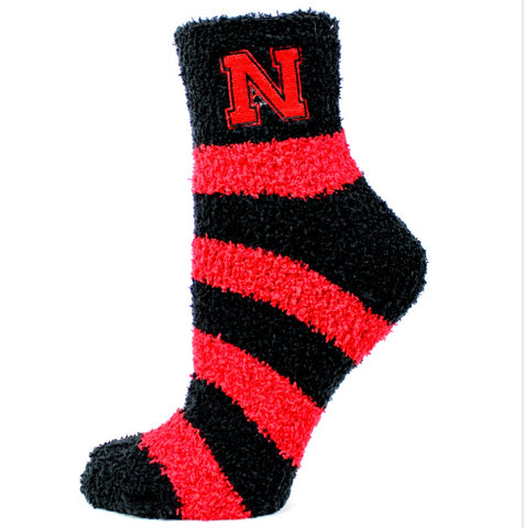 Nebraska Fuzzy Stripe Socks - One Size