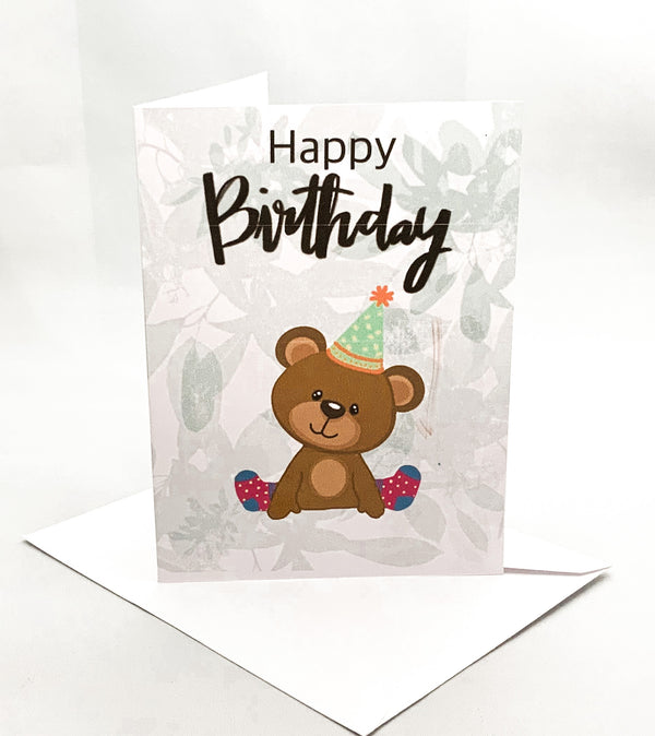"""Happy Birthday"" Party Bear Jilly's Card - Novelty Socks, Mens, Womens, Kids"