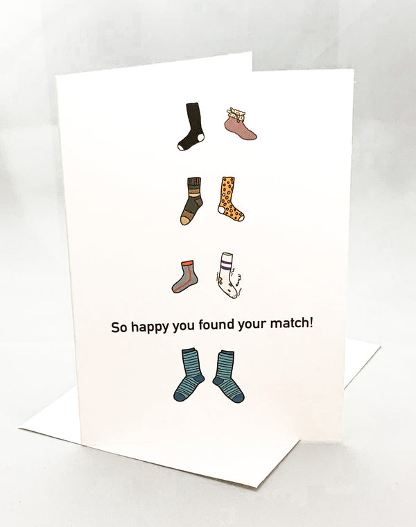 """So Happy You Found Your Match"" Jilly's Cards Greeting Card - Novelty Socks, Mens, Womens, Kids"