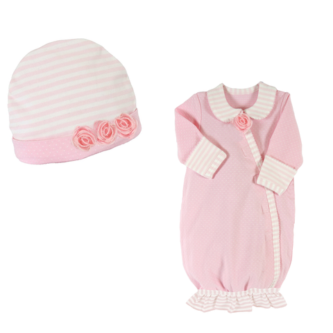 Baby Newborn Stripe Gown and Cap Set - Novelty Socks, Mens, Womens, Kids