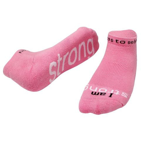 "Notes To Self Socks ""I Am Strong"" Pink - Multiple Sizes - Novelty Socks, Mens, Womens, Kids"