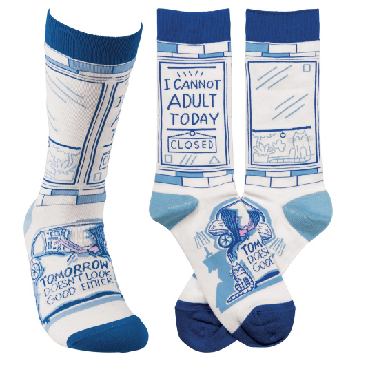 """I Cannot Adult Today"" Socks - One Size - Novelty Socks, Mens, Womens, Kids"