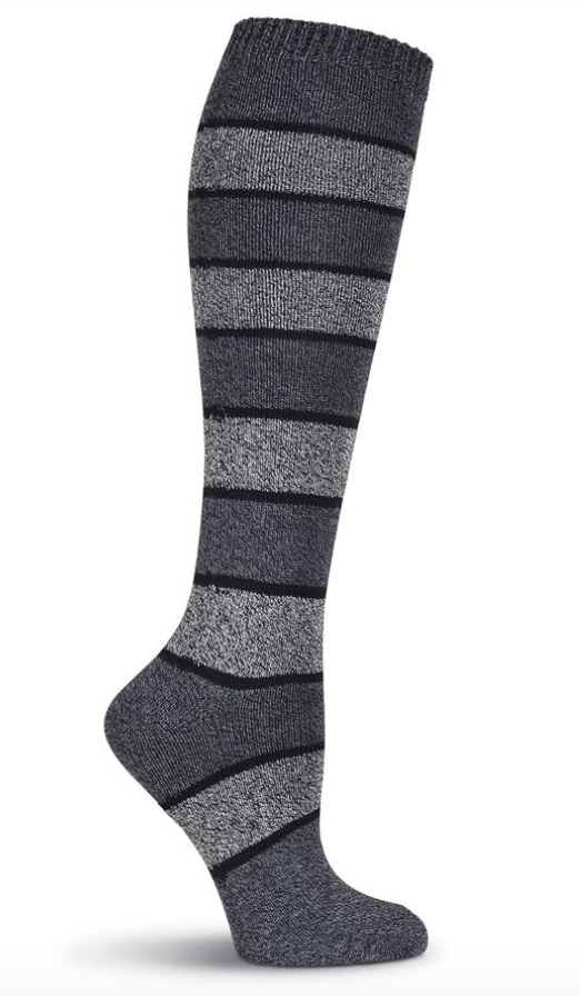 Women's Grey Stripe Knee Highs Socks - Jilly's Socks 'n Such