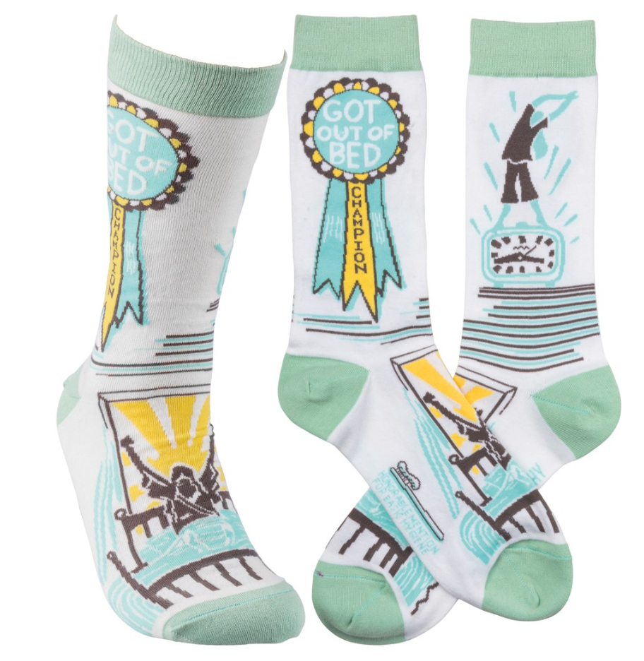 """Got Out of Bed Champion"" Socks - One Size - Novelty Socks, Mens, Womens, Kids"