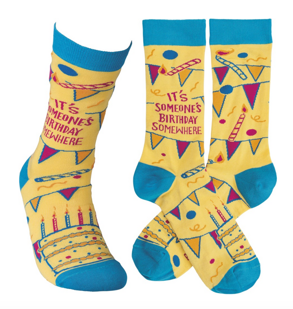 """It's Someone's Birthday Somewhere!"" Socks - One Size - Novelty Socks, Mens, Womens, Kids"