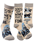 Dogs and Wine Make Everything Fine - Novelty Socks, Mens, Womens, Kids