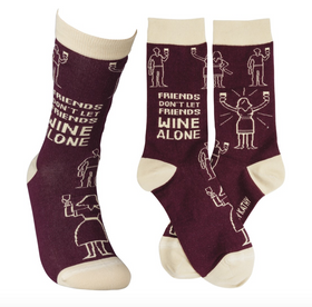 """Friends Don't Let Friends Wine Alone"" Socks - One Size"