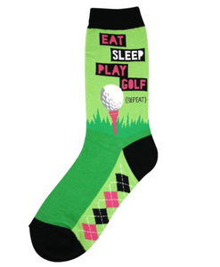 Women's Eat Sleep Golf Socks - Novelty Socks, Mens, Womens, Kids