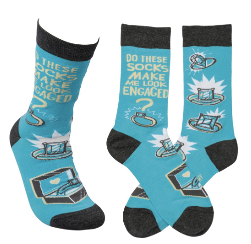 """Look Engaged"" Socks - One Size - Novelty Socks, Mens, Womens, Kids"