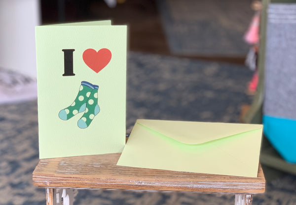 I ❤️ Socks Greeting Card - Novelty Socks, Mens, Womens, Kids