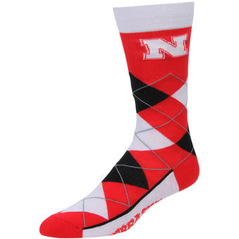 Nebraska Argyle Socks - One Size - Novelty Socks, Mens, Womens, Kids