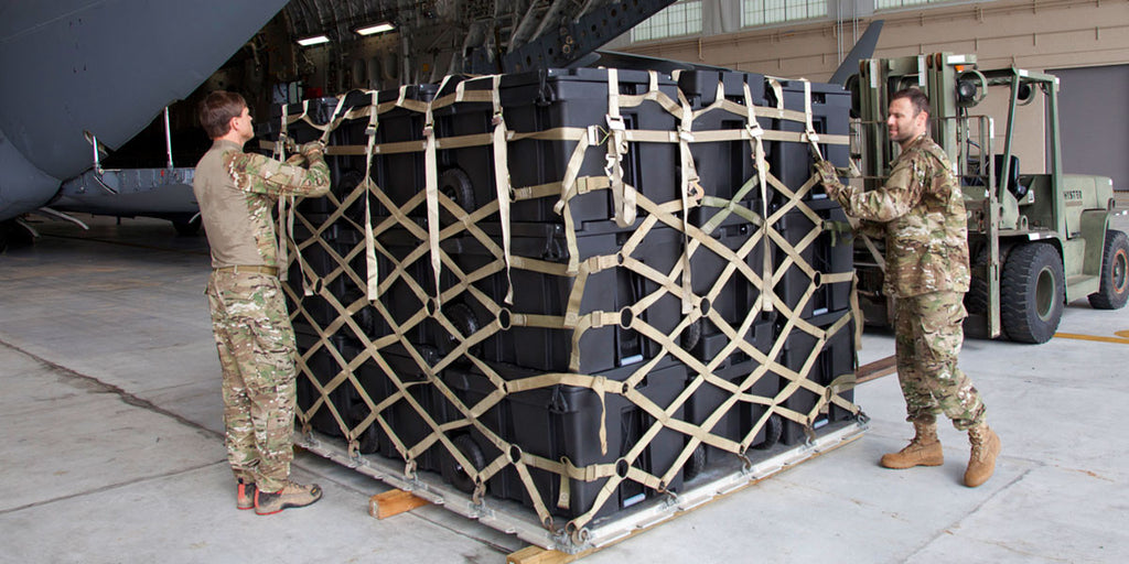 Standard 463-L cargo nets engage with Speedbox insets for a stable and secure load.