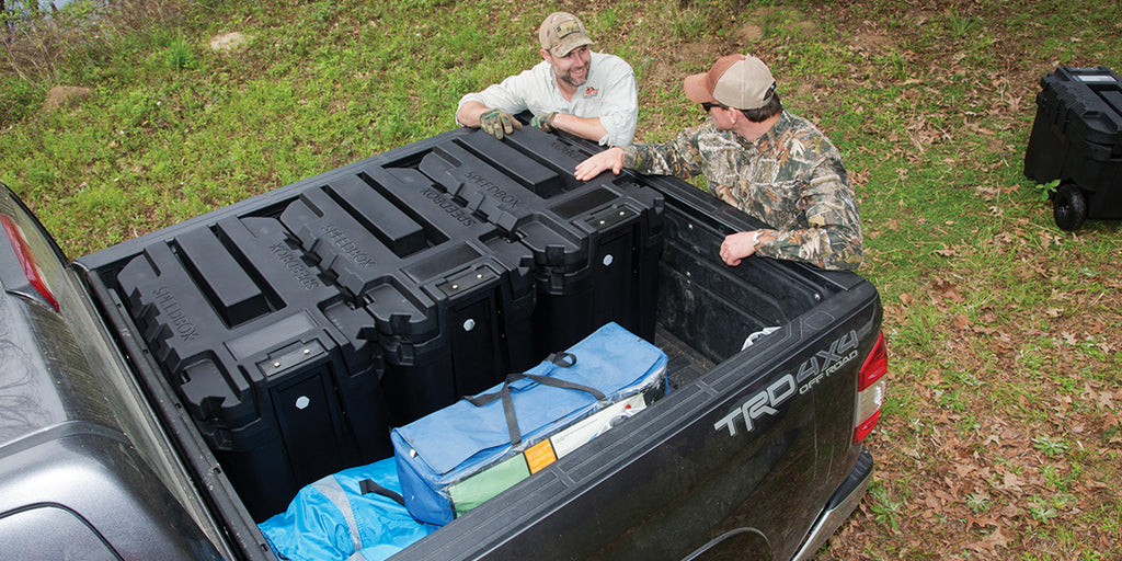 For ease of packing and stacking outdoor gear, nothing beats ENDURANCE-40 fitting three to a full-size truck with space for over-sized equipment.