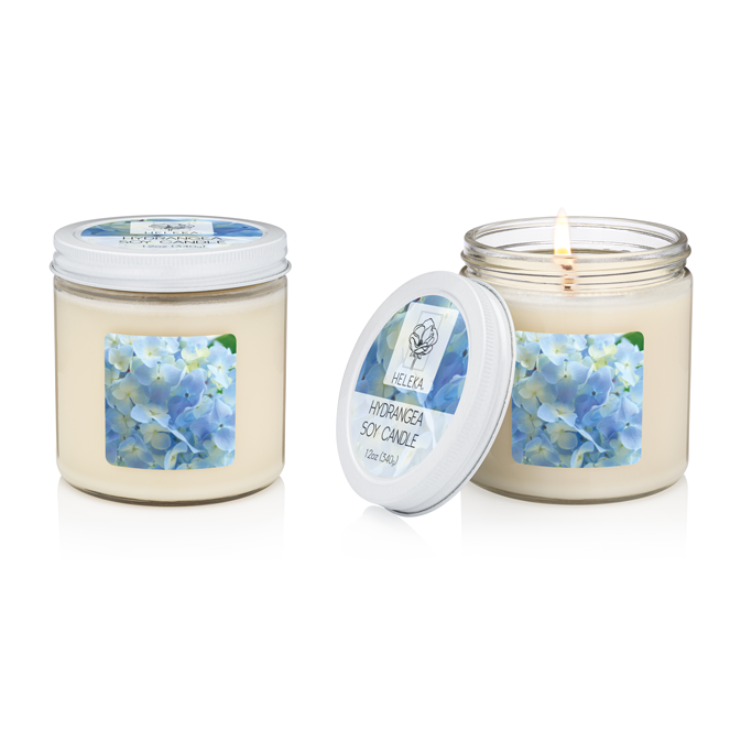 Hydrangea Cotton Wick Hand-Poured Soy Candle
