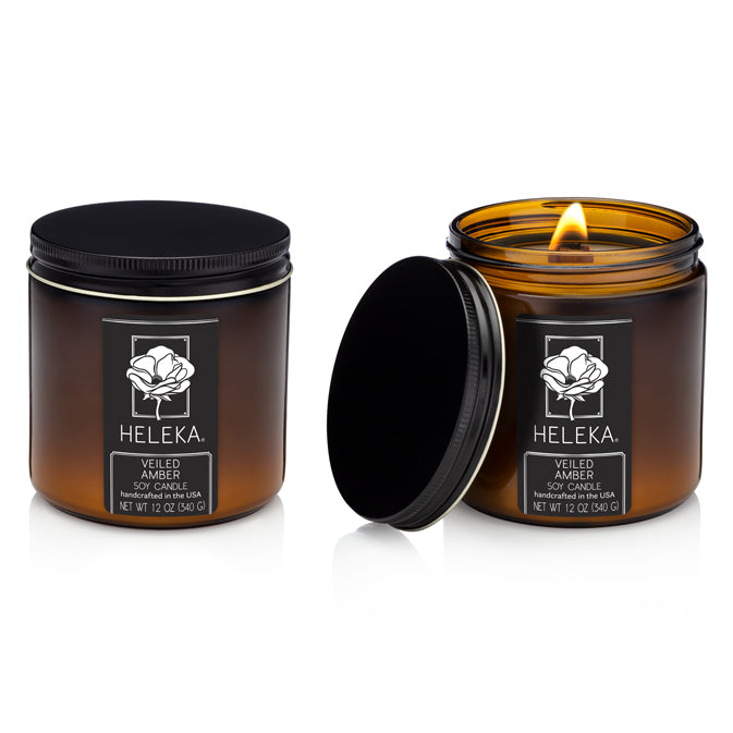 Wooden Wick Hand-Poured Soy Candle Veiled Amber