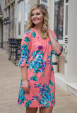 Coral Bell Sleeve Floral Dress-Sandi's Styles