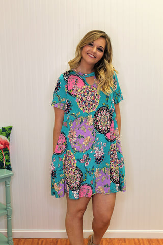 Turquoise, Pink, and Purple Floral Print Keyhole Dress-Sandi's Styles
