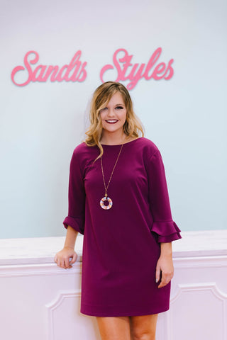 Magenta Dress with Ruffle Sleeve-Sandi's Styles