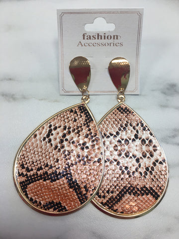 Snakeskin Print Dangle Earrings-Sandi's Styles