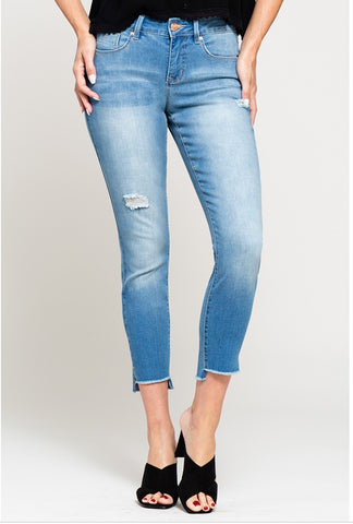 Medium Wash Frayed Bottom Denim Jeans-Sandi's Styles