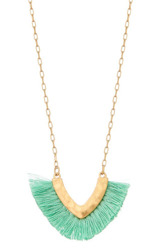 Mint Short Tassel Necklace-Sandi's Styles