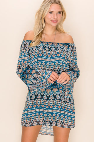 Blue Bohemian Tunic Dress-Sandi's Styles