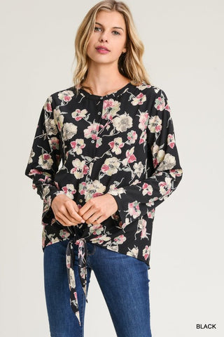 Black Pink and Sage Floral Print Top-Sandi's Styles