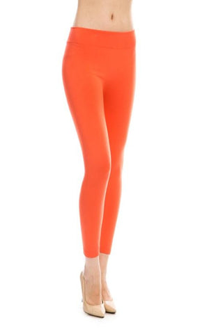 Peach Coral Fleece Lined Leggings-Sandi's Styles
