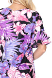 Black and Purple Tropical Floral Print Dress-Sandi's Styles