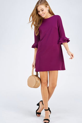 Magenta Dress with Ruffle Sleeve