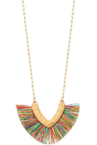 Multi Color Short Tassel Necklace-Sandi's Styles