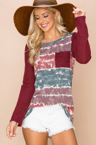 Burgundy Tie Dye Top With Pocket-Sandi's Styles