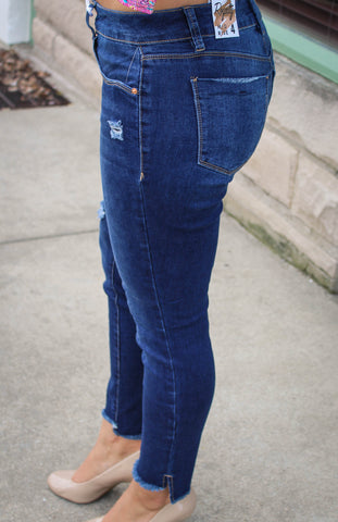 Denim Jeans with Ripped and frayed bottom.-Sandi's Styles
