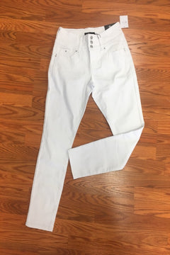 White 3 Button Skinny Jeans