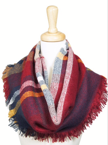 Red Khaki and Navy Plaid Infinity Scarf-Sandi's Styles