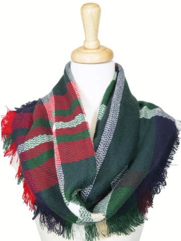 Green Red and Navy Infinity plaid scarf-Sandi's Styles