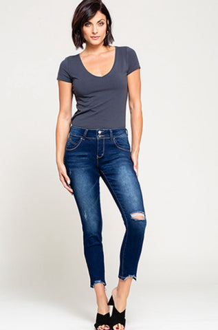 Skinny Jean with Trendy Dog Bite Bottom-Sandi's Styles